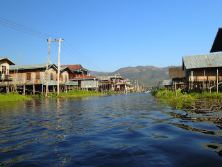Trekking on the shore of Lake Inle